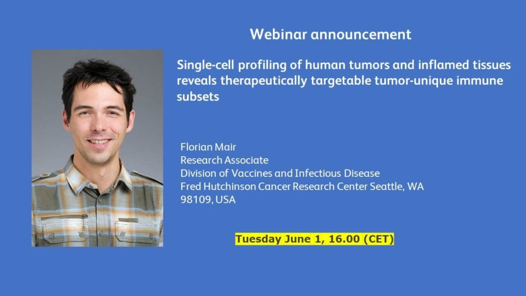 Webinar: Single-cell profiling of human tumors and inflamed tissues reveals therapeutically targetable tumor-unique immune subsets